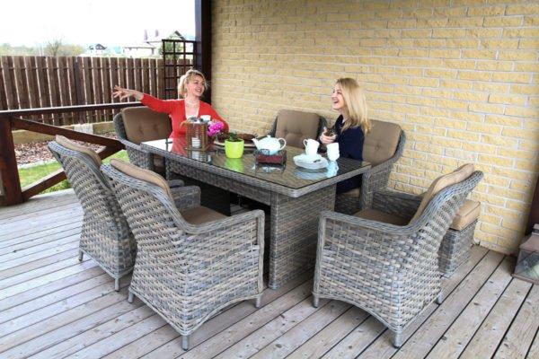 Lauko baldai, klasika, pinti ratano lauko baldai, terasos lauko baldai, foteliai, pietu stalas