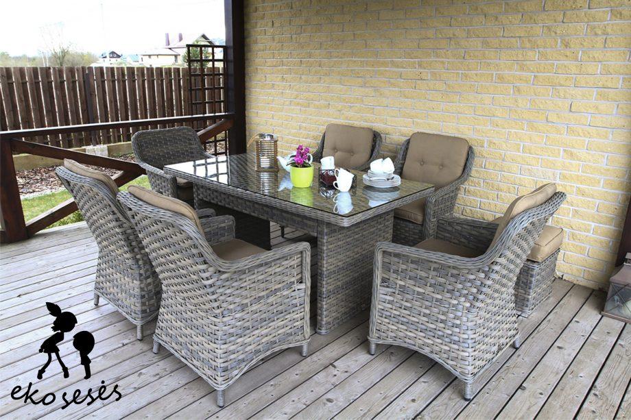 pinti lauko baldai, pietu stalas, foteliai