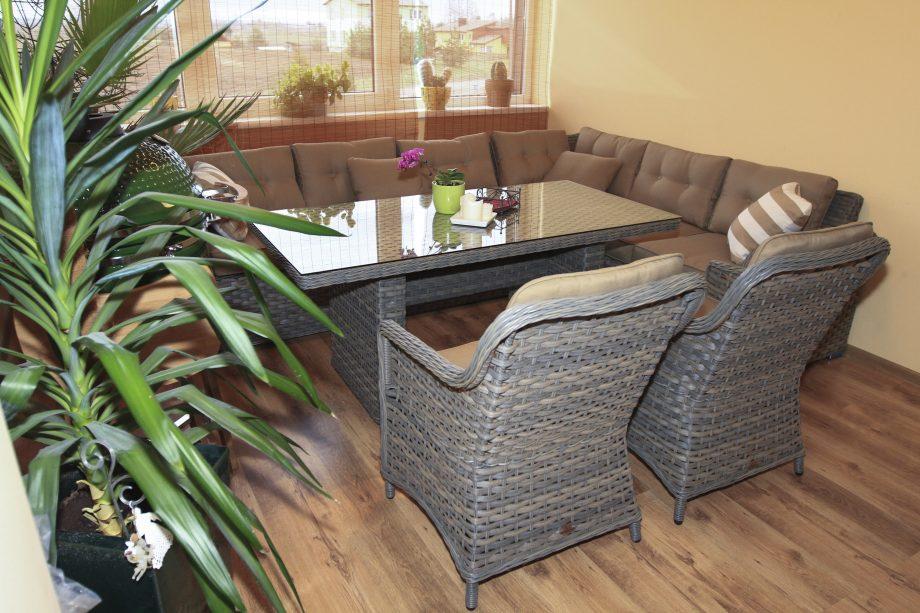 Pinti lauko baldai, Sociai Pailsek. terasos baldai, pietu stalas, kampas