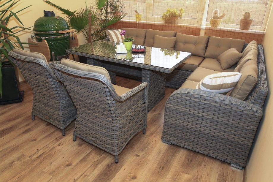 Pinti lauko baldai, Sociai Pailsek. terasos baldai, pietu stalas, kampas, foteliai