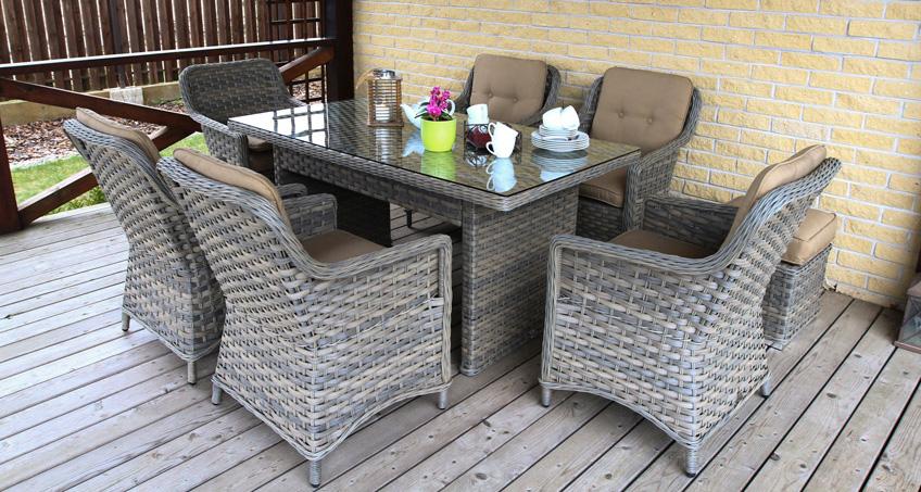 pinti ratano Lauko baldai, Klasika, terasos lauko baldai, pietu stalas