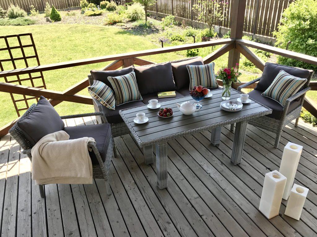 Pinti lauko baldai, ratano lauko baldai, pietų stalas, foteliai
