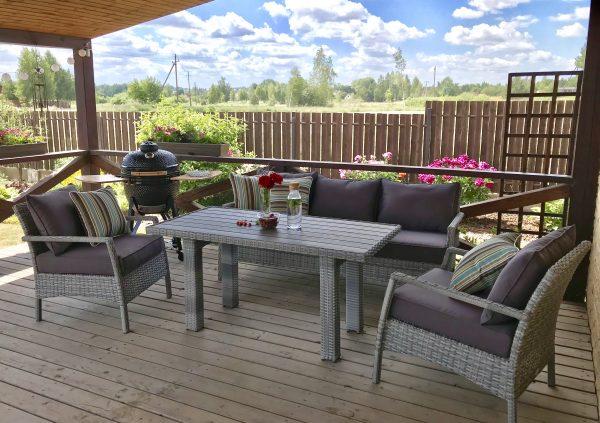 Pinti lauko baldai, ratano lauko baldai, pietų stalas, sofa, foteliai