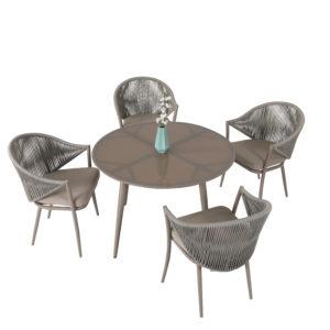 Lauko baldai, pietu lauko baldai, apvalus stalas, foteliai