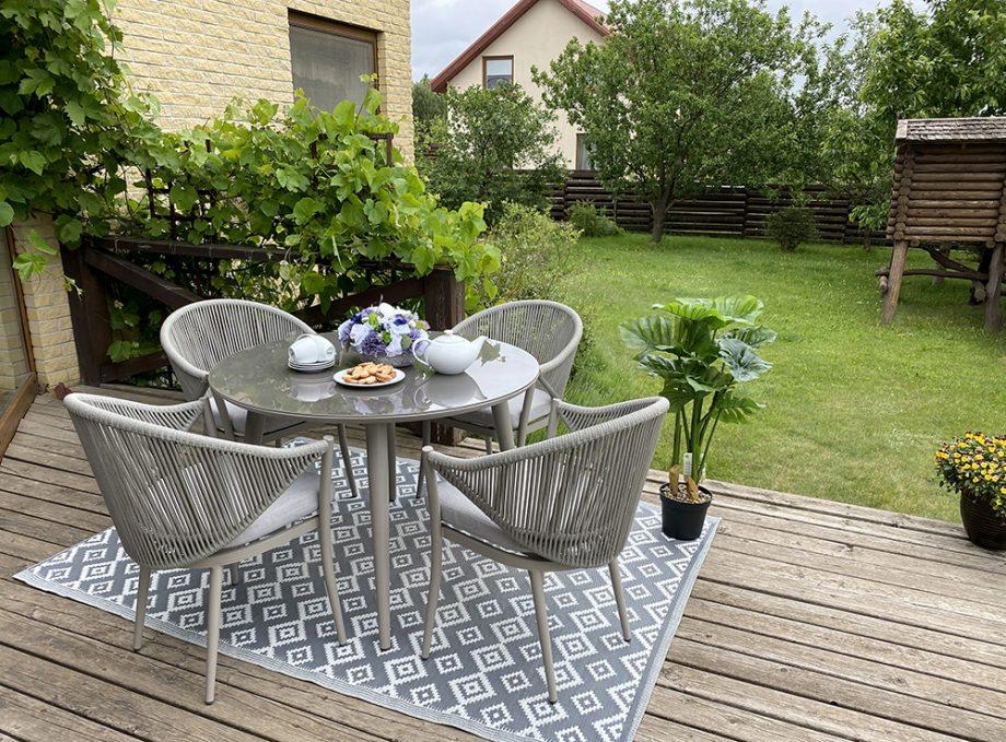 lauko baldai, apvalus stalas, foteliai, aliuminio baldai