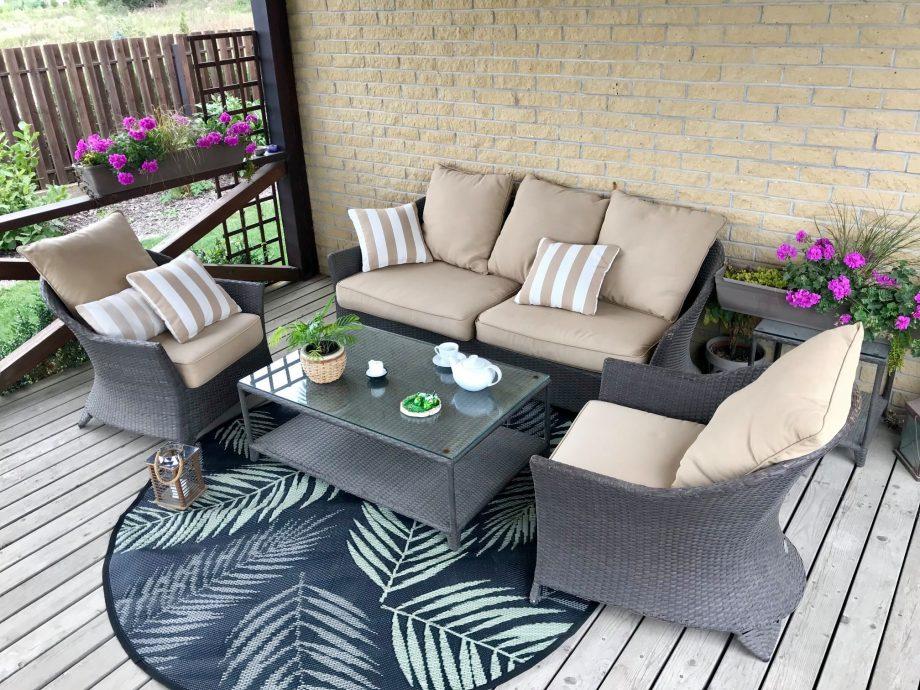 Lauko baldai, terasos aksesuarai, lauko baldu, sofa
