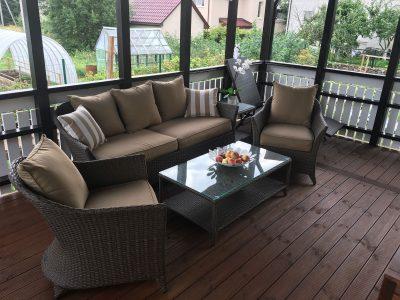 lauko baldai, terasos baldai, sofa, foteliai, terasa, romantika baldu komplektas,