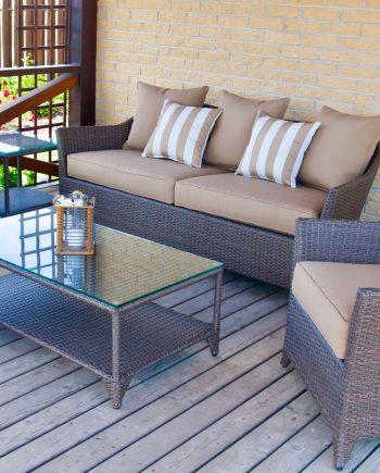 romantika baldu komplektas, lauko baldai, terasos baldai, sofa, foteliai, terasa