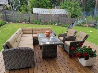 lauko baldai, kampas sociai pailsek, terasos baldai, sofa, foteliai, pietu stalas