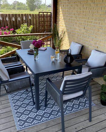 lauko baldai, aliuminio lauko baldai, pietu stalas, foteliai