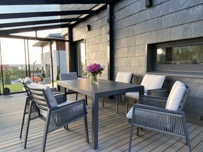 lauko baldai, terasos baldai, foteliai, stalas pietu