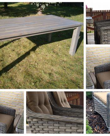 pietų stalas, lauko baldai, medinis stalas, foteliai, sodo baldai