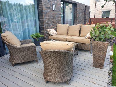 lauko baldai, sofa, foteliai, pinti baldai